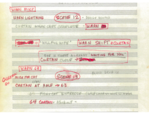 Image of production score courtesy of of the Sarah Caldwell Collection, Howard Gotlieb Archival Research Center at Boston University.